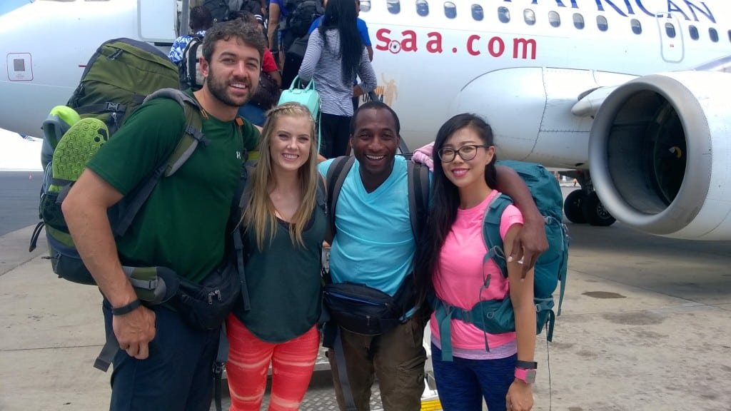 The Amazing Race winning team, Tyler and Laura, and second place team, Jelani and Jenny