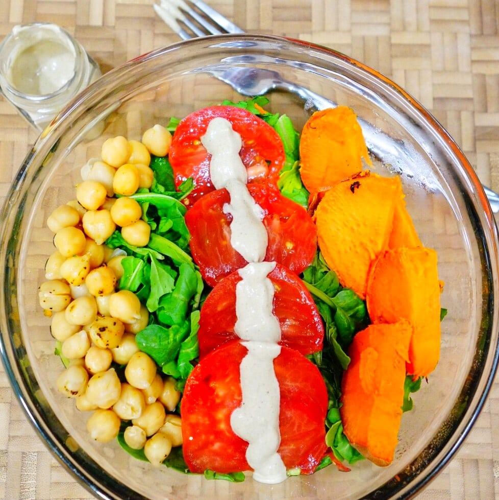 Warm Sweet Potato Caesar Salad Bowl