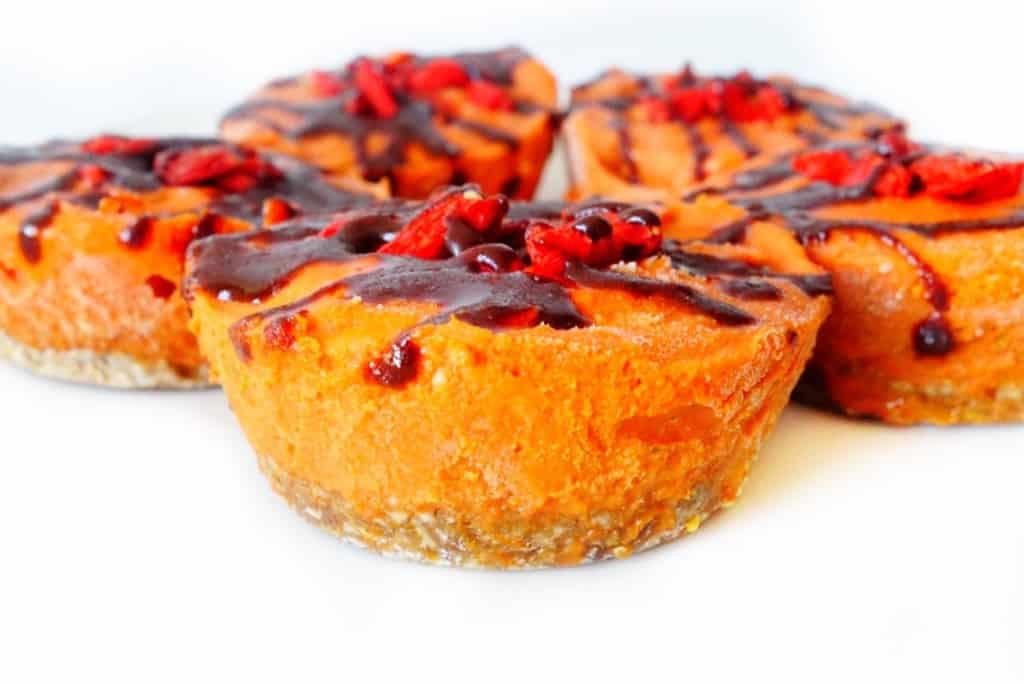 Halloween Vegan Desserts with Goji Berries and Chocolate sauce