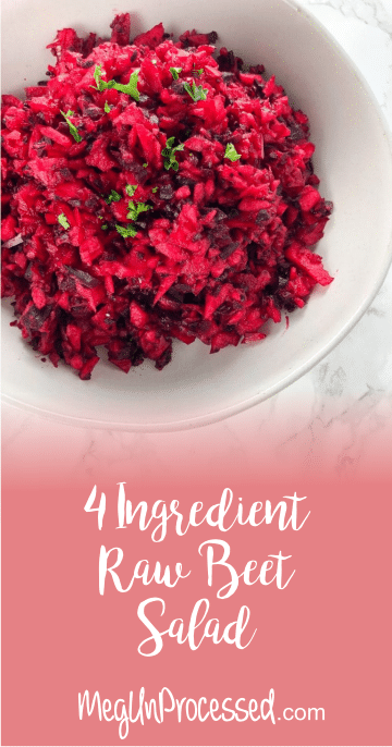 This 4-Ingredient beet salad is the simplest beet recipe. It's quick, easy, not messy and tastes delicious! Vegan, gluten-free and refined sugar-free.