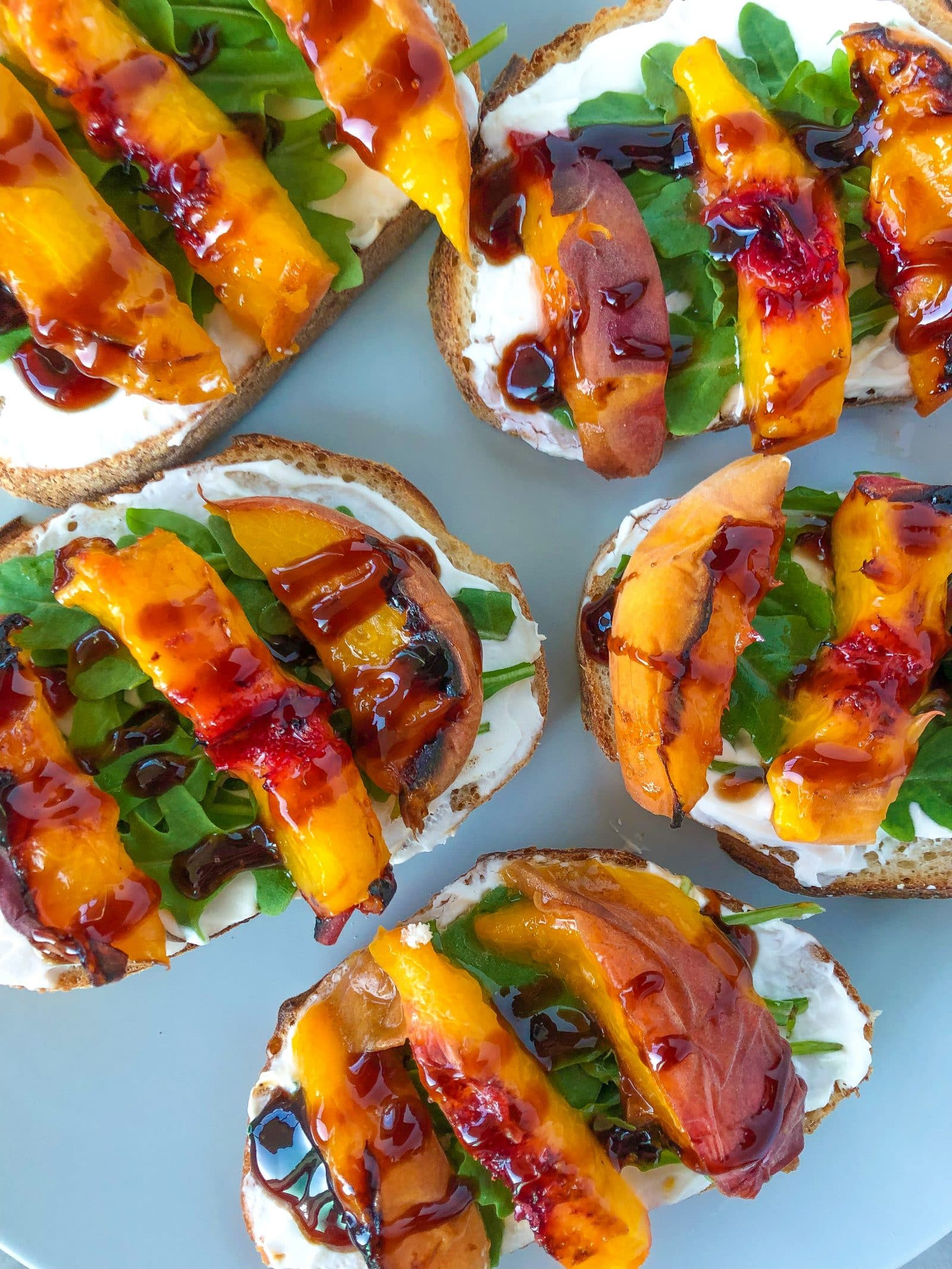 Grilled Peach Crostini With Arugula And Balsamic Reduction Megunprocessed